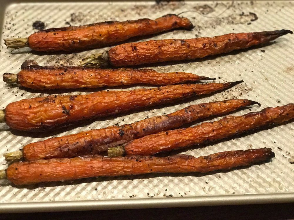 Carrots roasted to a char taste AMAZING! Use them to top any bowl creation.