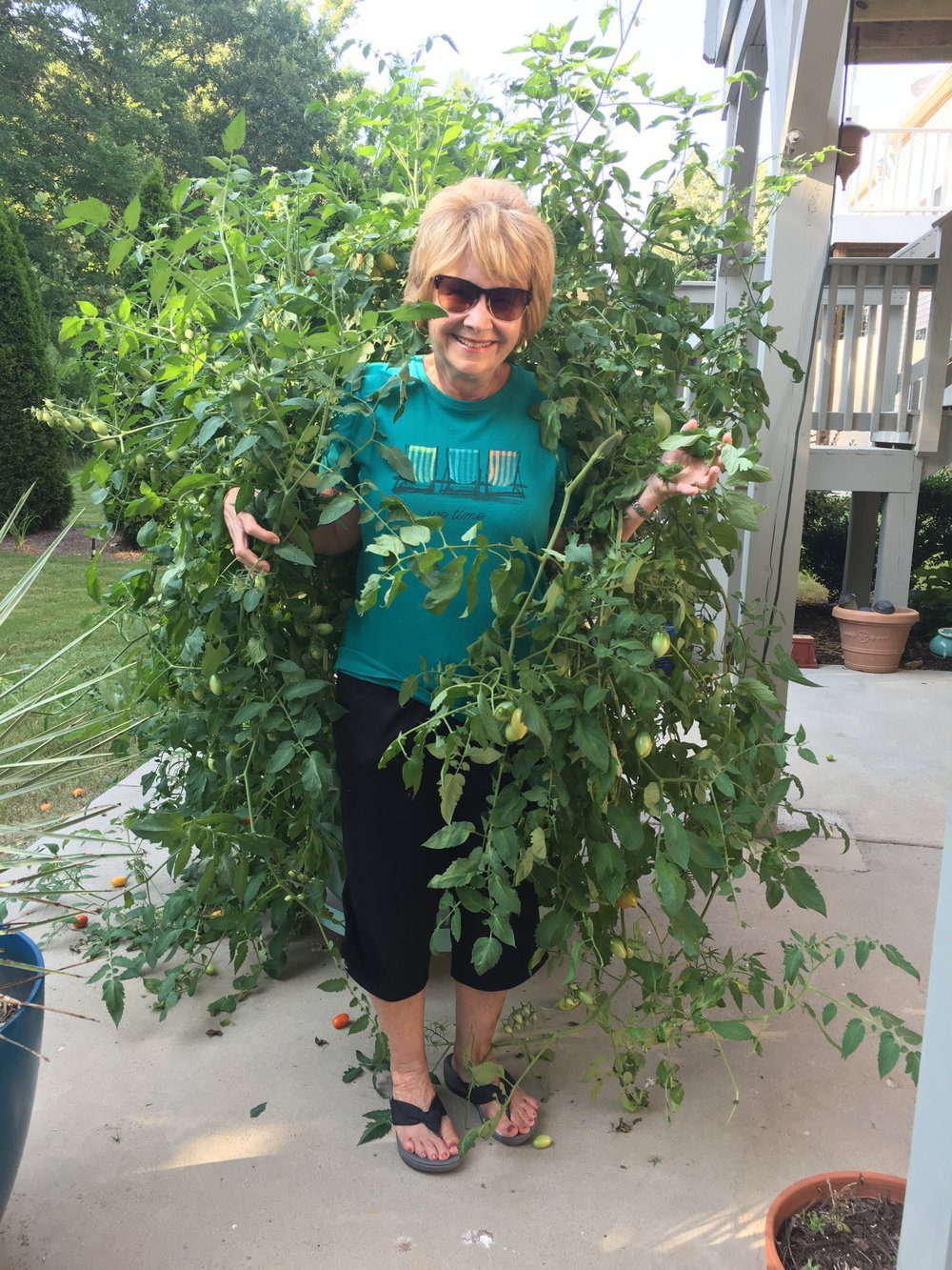 Donna Fox is happy in her garden, and why not? She