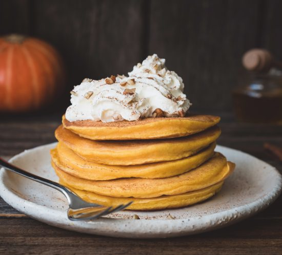 Pumpkin Griddle Cakes with a Surprise Topping...