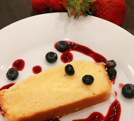 glazed lemon cake with berry sauce