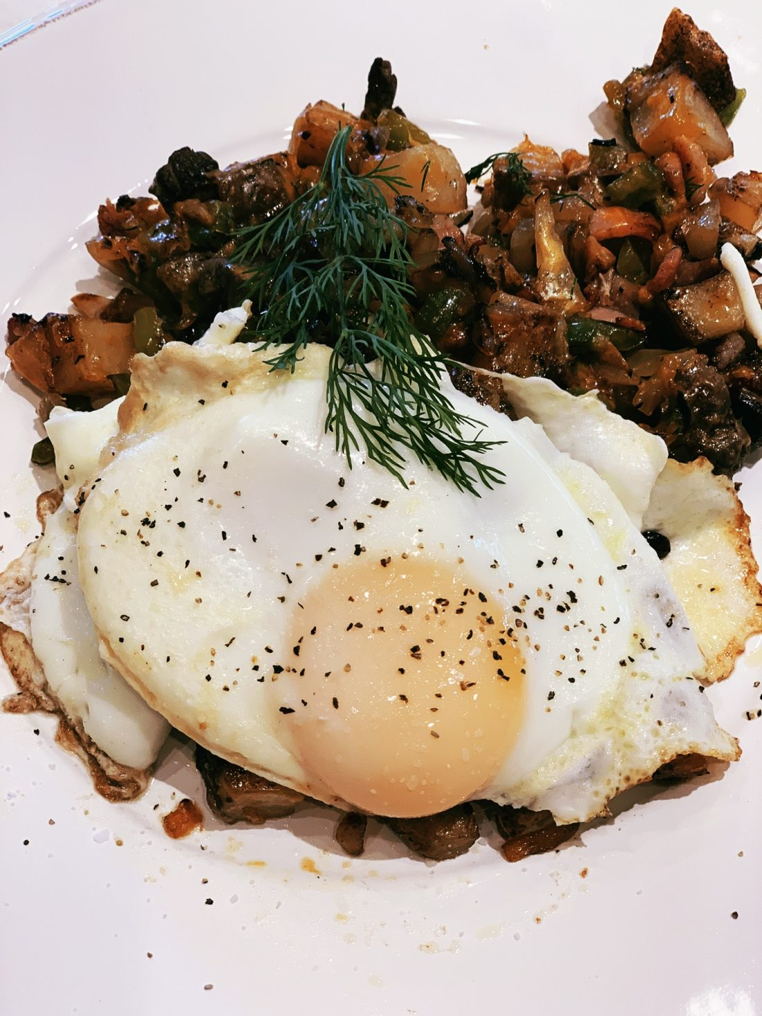 Breakfast Skillet with Glazed Eggs